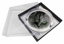 Grey Persian Cat Glass Paperweight in Gift Box Christmas Present, AC-12PW