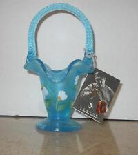 "Fenton Celeste Blue Stretch Basket Dancing Daisies Signed Shelley Fenton 2004 7"""