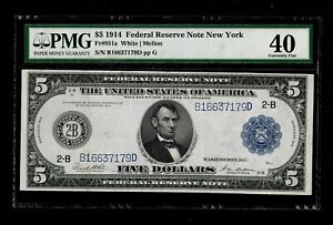 FR-851a 1914 Series $5 New York Federal Reserve Note *PMG 40 Extremely Fine*