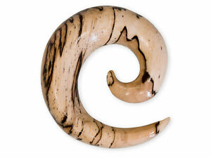 Spiral Stretcher Wood Ear Plug Taper Gauge Tunnel Tribal Piercing Jewelry