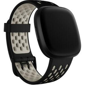 Fitbit Sport Band for Sense & Versa 3 Smartwatches (Small, Black/Lunar White)