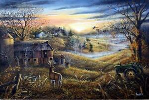 "Ray Mertes ""Three's a Crowd"" Deer Farm Original Art Print 30"" x 20"""