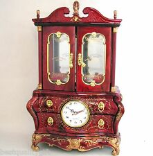RED+GOLD TONE FLORAL TRIM RESIN CUPBOARD,CABINET STYLE CLOCK,JEWELRY+MUSIC BOX