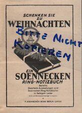 BONN BERLIN LEIPZIG, Werbung 1924, Soennecken Notizbücher Gold-Füllfeder-Halter