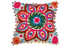 Indian Euro Suzani Embroidered Cushion Cover 24X24 Pom Pom Lace Pillow Shams