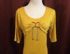 Misses Me Shirt Top Tunic NWT Sz 2X Yellow 1 Pc Shirt Shrug Combo Hanging Charms