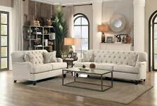 Traditional Living Family Room Couch Set - Large Beige Fabric Sofa Loveseat IG5N
