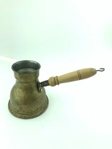 Cezve Arabic Coffee pot Wooden Handle tin  handmade   pre owned 12 oz.