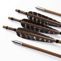12PCS 33 Zoll Bambuspfeile 8mm mit 5 Zoll Naturfedern Pfeilspitzen Bogenschießen