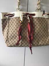 Gucci Large Positano  Canvas and Leather Tote