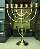 Brass Copper Antique Replica Grafted in Messianic Israel 12 Inch Menorah Candle