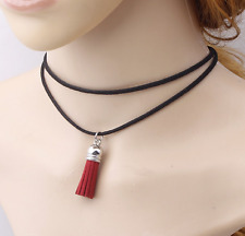 RED VINTAGE LEATHER MULTI-LAYER SUEDE CHOKER NECKLACE RED TASSEL PENDANT COLLAR