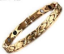 8.5'' 6mm Women Gold Titanium Stainless Steel Magnetic Therapy Chain Bracelet