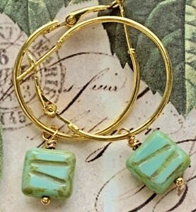 Gold Tone Hoop with Green Picasso Czech Glass Bead Earrings.