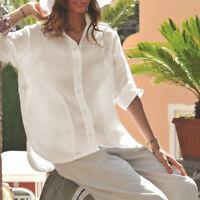 VONDA Women Casual Loose Button Down Shirt Cotton Plain Blouse Top Sizes8-24