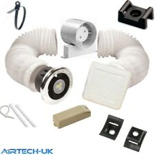 "Bathroom Extractor Shower light Fan Kit 4"" Chrome/white + Timer with Transformer"