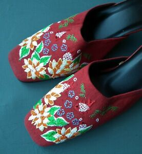 Women's embroidered mules heels red fabric floral embroidery flowers UK 5