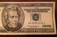 1999 $20 Banknote Future Anniversary Serial Number 2082 12 22 - 2082 Dec. 22
