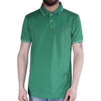 Polo Uomo Sport Cotone Colletto Righe Maniche Corte 3 Bottoni T-Shirt Verde