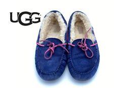 UGG Dakota Dark Denim Blue Fur Slippers Women's Size 7