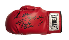 RARE THOMAS HEARNS SUGAR RAY LEONARD & ROBERTO DURAN SIGNED BOXING GLOVE & PROOF