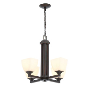 Hampton Bay Shaded Chandelier 4-Light Single Tier Dimmable Frosted Glass Shade