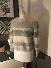 Jack Wills 8 Mohair Wool Mix Pink Grey Fluffy Chunky Cropped Blogger Nordic