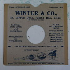 "78rpm 10"" card gramophone record sleeve / cover WINTER & CO forest hill"