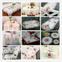 White Embroidered Floral Lace Tablecloth Wedding Dining Party Table Cloth Cover