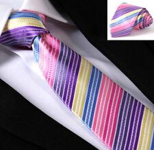 Premium Rainbow Tie Pink Purple Blue Yellow Stripes Wedding Silk ET1