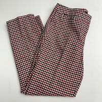 Talbots Hampshire Ankle Pants Women's 6 Petite Red Black Lined Plaid Wool Blend
