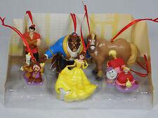 Disney Beauty & the Beast 6pc Ornaments Figure Set Belle Beast Gaston Chip NEW