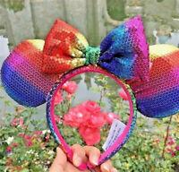 New Disney Parks Minnie Mouse Rainbow Headband Bow Hat Metallic Sequin Kids Ears