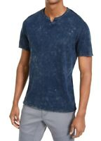 INC Mens T-Shirt Acid Wash Blue Size Large L Split Neck Short Sleeve Tee $29 308