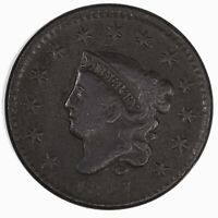 Raw 1827 Coronet Head 1C N-10 US Copper Large Cent Coin