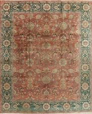 Antique All-Over Floral Rust/Green Tebriz Area Rug Vegetable Dye Hand-made 10x13