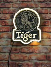 New Tiger Lager Beer 3D Acrylic Beer Bar Pub Real Neon Sign FREE SHIP