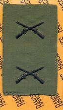 US Army Infantry INF Branch OD Green & Black sew on patch set