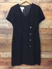 Evan Picone Black Dress Size 12 Faux Wrap Shoe and Handbag Buttons Career Dressy