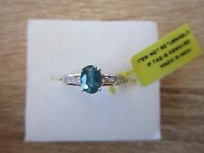 Teal Kyanite & White Zircon Ring Platinum Overlay Sterling Silver Size 5,7,8 Opt