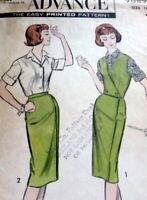 LOVELY VTG 1950s BLOUSE SKIRT WESKIT ADVANCE Sewing Pattern 16/36