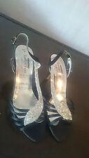 "Ladies Saxone Black Starlight Diamond Stiletto Court Strappy Shoes 3"" Heels Sz 4"