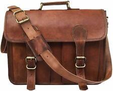 Men Real Goat Portfolio Leather Laptop Satchel Messenger Shoulder Handmade  Bag