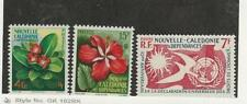 New Caledonia, Postage Stamp, #304-306 Mint Hinged, 1958 Flowers