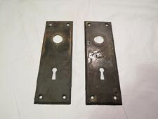 Antique Pair / Set patina metal Skeleton key Door Knob Back plate backplate