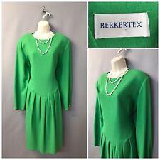 Berkertex Green Pleated Vintage Wool Dress UK 18 EUR 46