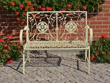 Banc De Jardin Ancien Banquette Shabby Chic Blanc Ecru Meuble Metal Elegance