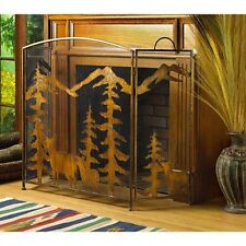 Rustic Fireplace Screen Divider Bronze Finish Fire Place - New