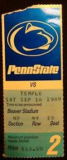 1989 Penn State Football Ticket Stub  -  Temple game 2