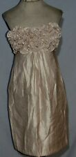 Alexia Ardmore Shimmering Beige Strapless Dress w RUffles XS